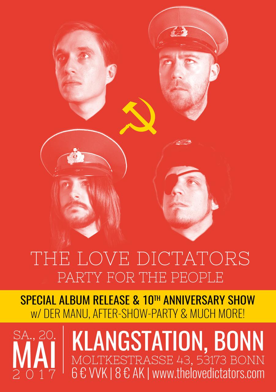 The Love Dictators – Flyer – Releaseshow – 20. Mai 2017 – Klangstation Bonn